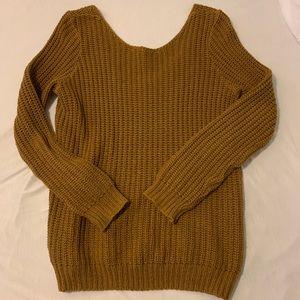 mustard yellow scoop neck/off shoulder sweater